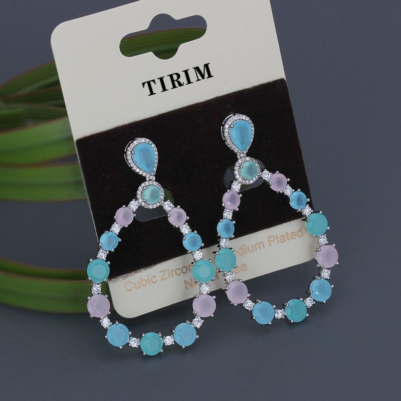 Luxury Colorful zircon earring high-quality multicolour eardrop for Female fashion wedding bridal jewelry Gift