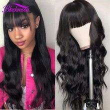 Pelucas de cabello humano peruano de 30 pulgadas, pelucas de cabello humano ondulado con flequillo para mujeres negras, pelucas sin pegamento, peruca humana com franja