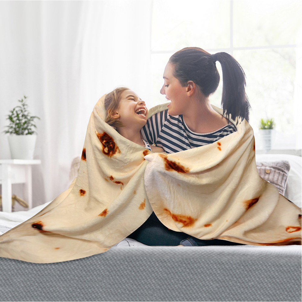 Super Soft Burrito Blanket Tortilla Throw Round Shape Airplane Travel Coral Fleece For Sofa