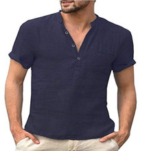 2021 New Men s Spring And Summer Casual Shirt Short Sleeved Cotton And Linen Shirt Men s Loose Button Neck Breathable Plus Size