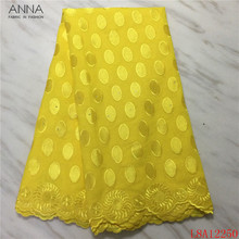 Swiss Voile Embroidery Lace Stones Switzerland Yellow African 100%Cotton-Fabric 5-Yards/Pcs