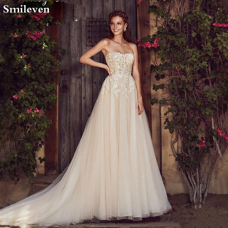 Smileven A Line Wedding Dress  Champagne Boho 2020  Sweetheart Neck Lace Bridal Gowns Robe De Soriee Turkey Wedding Gowns