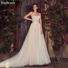 Smileven A Line Wedding Dress  Champagne Boho 2020 Sweetheart Neck Lace Bridal Gowns Robe de soriee Turkey