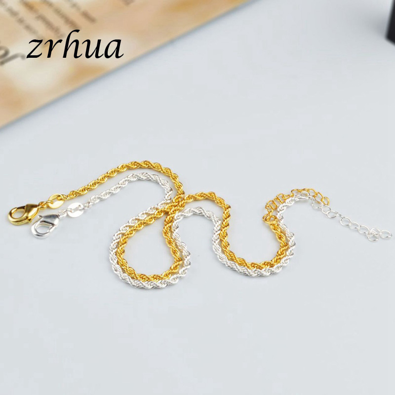 Romantic Twisted chain 925 Sterling Silver Bracelets & Bangles Adjustable Women Charm Anklets Jewelry Gifts Gold Color Bijoux 2
