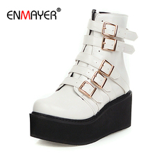 ENMAYER Flat with Round Toe Motorcycle Boots Winter Women PU Solid Fleeces Buckle Flock Ankle for Furry