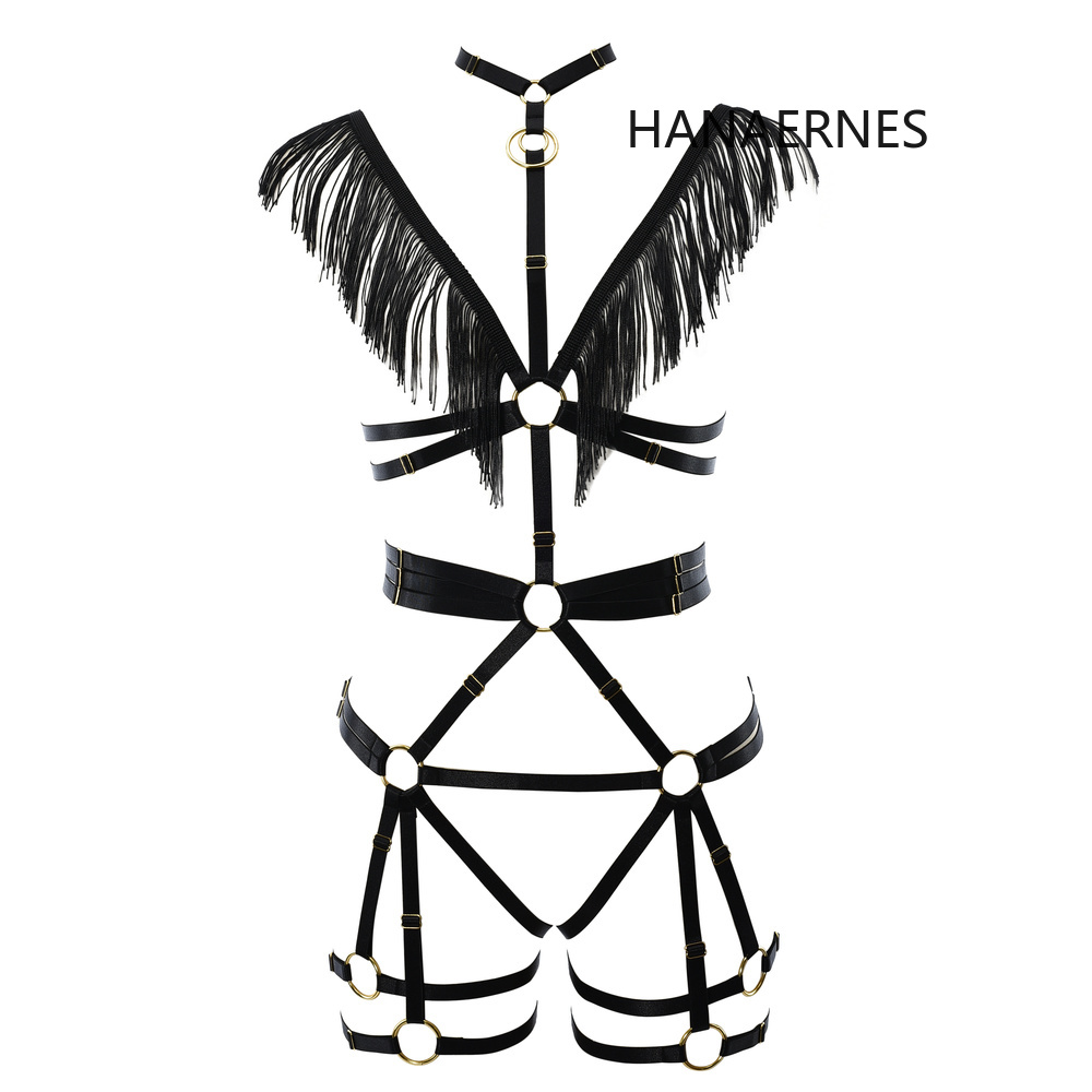 HANAERNES Black Spread Wings Tassel Harajuku Gothic Women's Disco Body Strap Harness Harness Set Suspender Dress