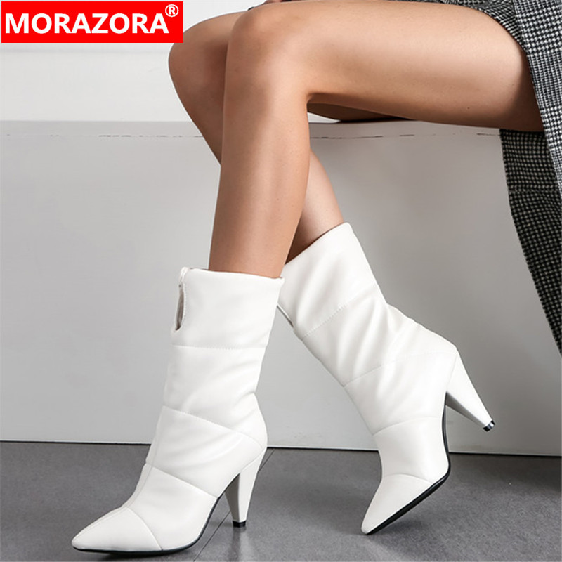 MORAZORA 2020 hot sale warm winter booties pointed toe Down slip on fashion high heels dress party shoes women ankle boots
