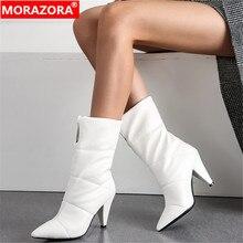 MORAZORA Botines cálidos de tacón alto para mujer, botas de invierno cálidas, puntiagudas, a la moda, para fiesta, 2020