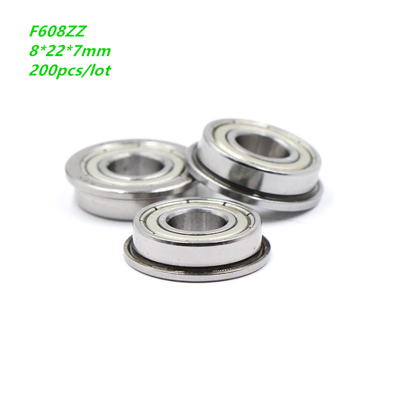 200pcs/lot 8x22x7mm <font><b>F608ZZ</b></font> F608Z F608 Z ZZ F608-ZZ Metal cover Miniature Flanged Deep Groove Ball Bearing 8*22*7mm image