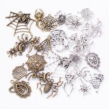 50g venda quente metal misturado charme animal aranha antigo bronze pulseira colar artesanal jóias fazendo por atacado diy jóias
