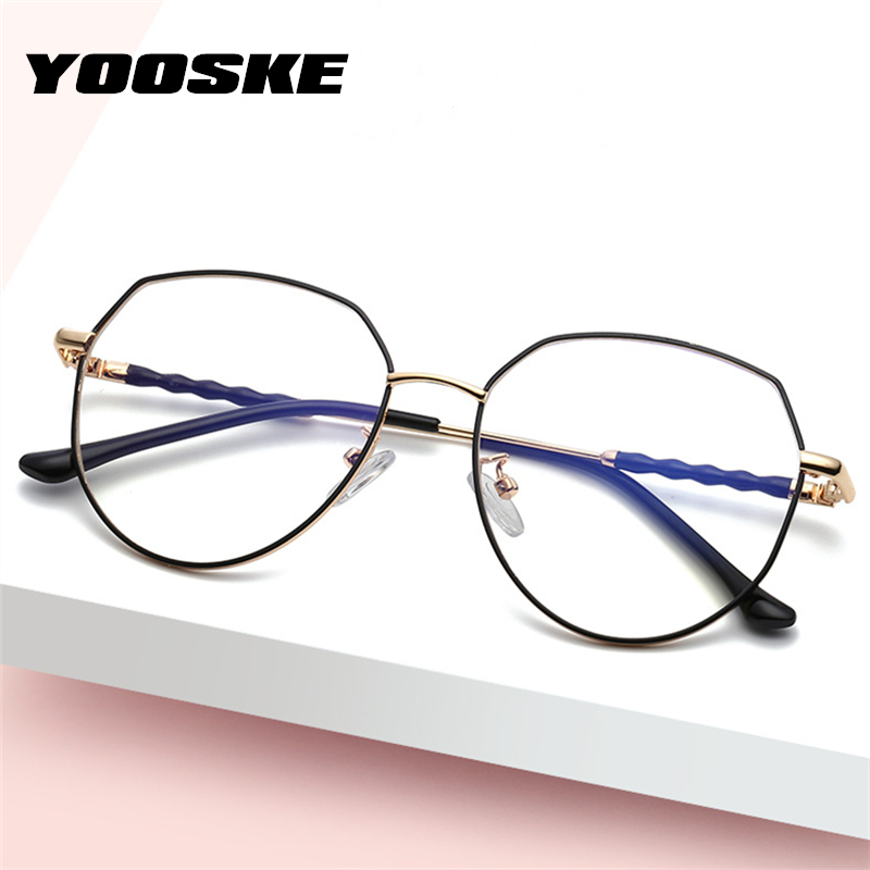 YOOSKE Polygon Metal Anti Blue Light Blocking Glasses Frames Men Women Computer Games Goggles Eyeglasses Optical Spectacle Frame
