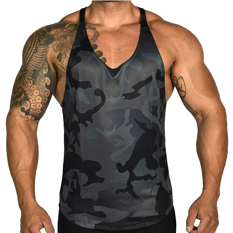 2019 New Fashion Camouflage Patchwork Print Gym Fitness Mens Muscle Sleeveless Tank Top Tee Bodybuilding Sport Vest