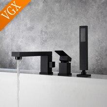 VGX Bathroom Square Bathtub Faucet with Handheld Shower Single Handle Bath Mixer Shower System Brass Brushed Golden Chrome Black