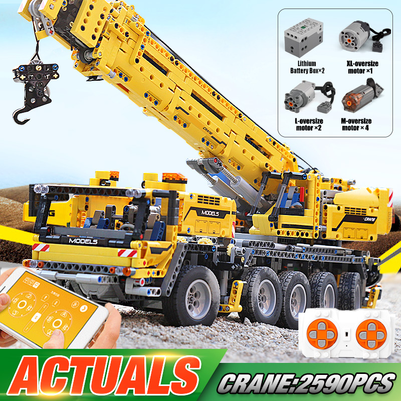 MOULD KING 13107 The 20004 Motorized Mobile Crane MK II Assembly Kids Christmas Gift Building Block