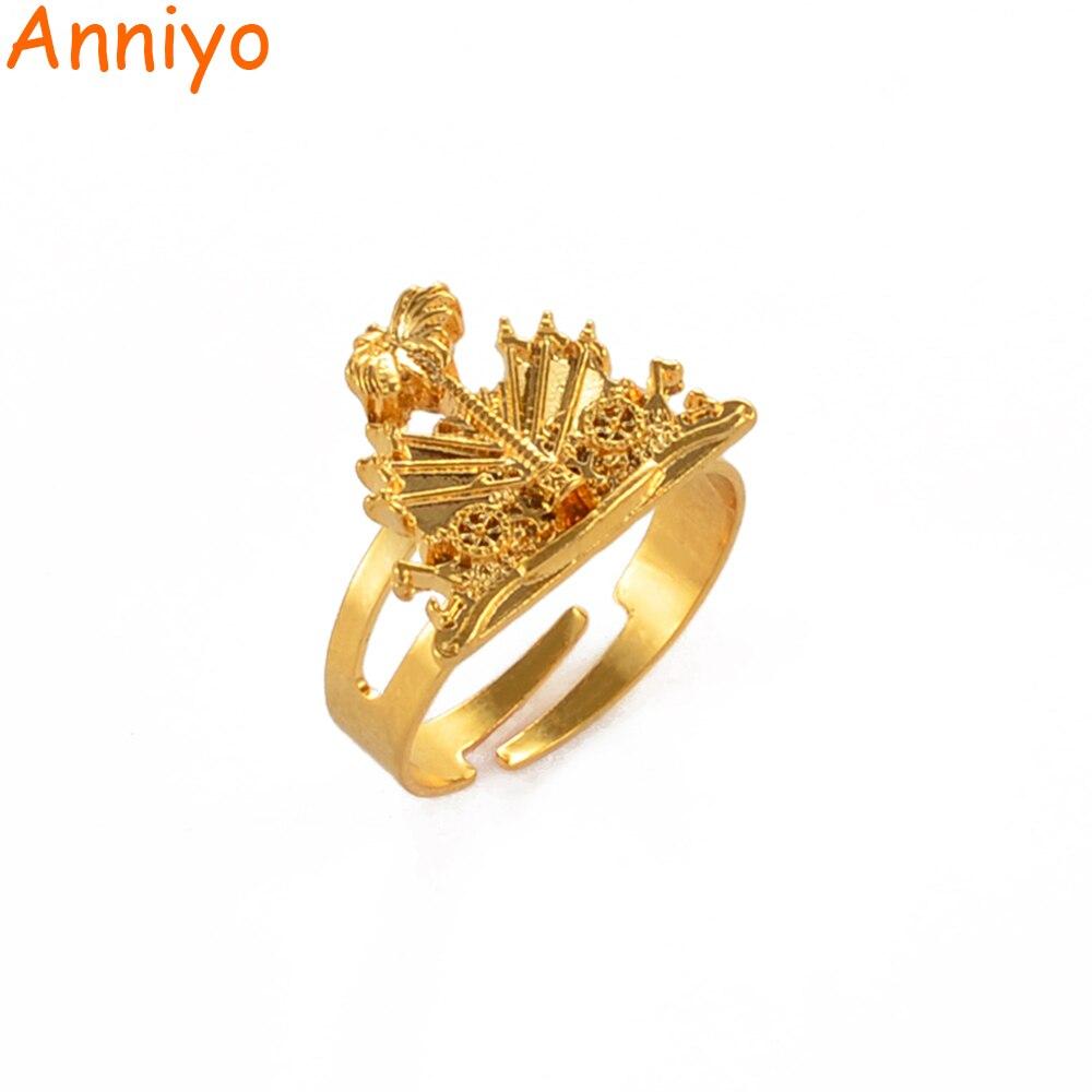 Anniyo Haiti Rings for Women Girls Men Gold Color Haitian Ring Resizable Ayiti Ethnic Ornaments #242806