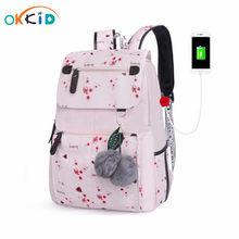 OKKID Cherry blossoms children's school backpack for girls pink flower school bags kids floral backpack child book bag backpack(China)