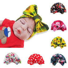 Newborn Baby Hats Boy Girl Baby Sun Hat for Kids Floral Bowknot Cap Toddler Baby Turban Cap Suit for 0-2Y Photo Props #11.18(China)