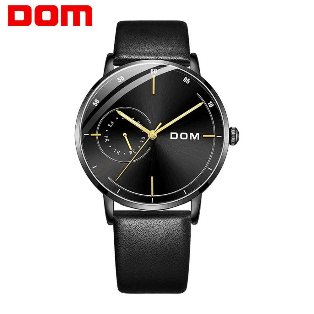 DOM Mens Watches Top Brand Luxury Leather Casual Quartz Watch Men Minimalist Waterproof Clock Watch Relogio Masculino M-1273BL