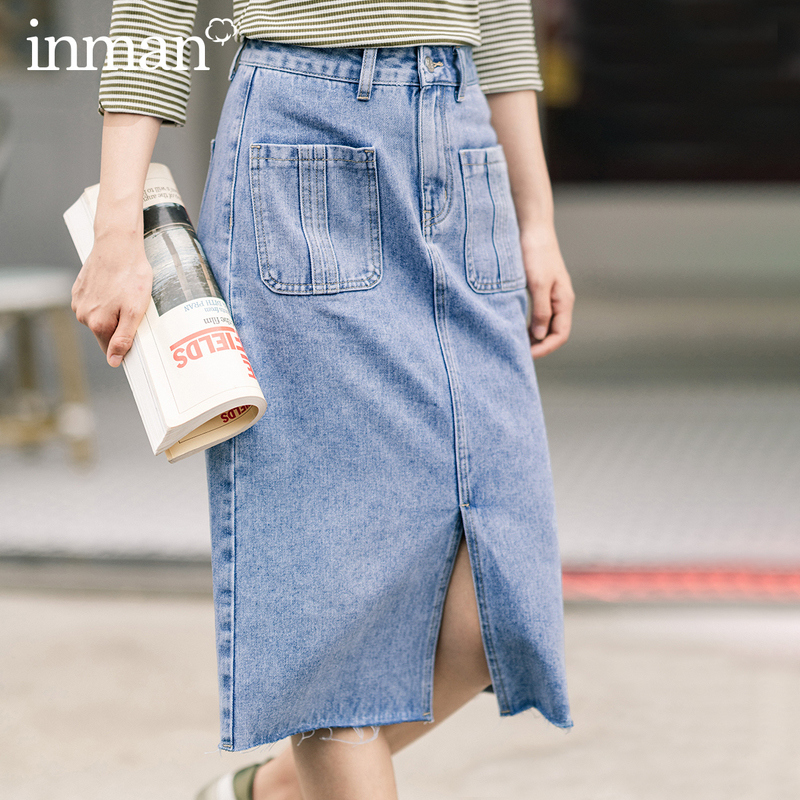 INMAN 2020 Autumn New Arrival All-match Vintage Wash Fashion Womens Denim Jeans High-waisted slit Female Ladies A line Skirt(China)