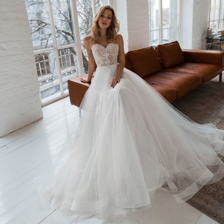 ADLN Custom Wedding Dresses Vestido De Novia Sweetheart Sheer Strap Pearls Applique Bridal Wedding Gowns Robe De Mariage