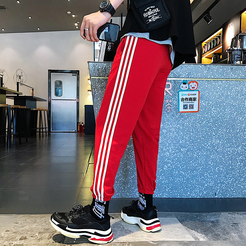 INS Super Fire Pants Men's Hip Hop Loose-Fit Athletic Pants Three Bars No Ironing Men Capri Striped Pants Fashion K120 Business