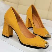 Fashion Women Pumps Rivet Metal Heels Women Shoes Flock Sexy