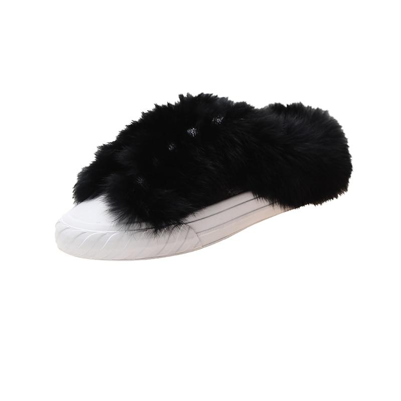 Winter Slippers Shoes Platform Luxury Slides Med Flock Pokemon Plush Shose Women Designer Fur House 2019 Flat with fur Basic 26