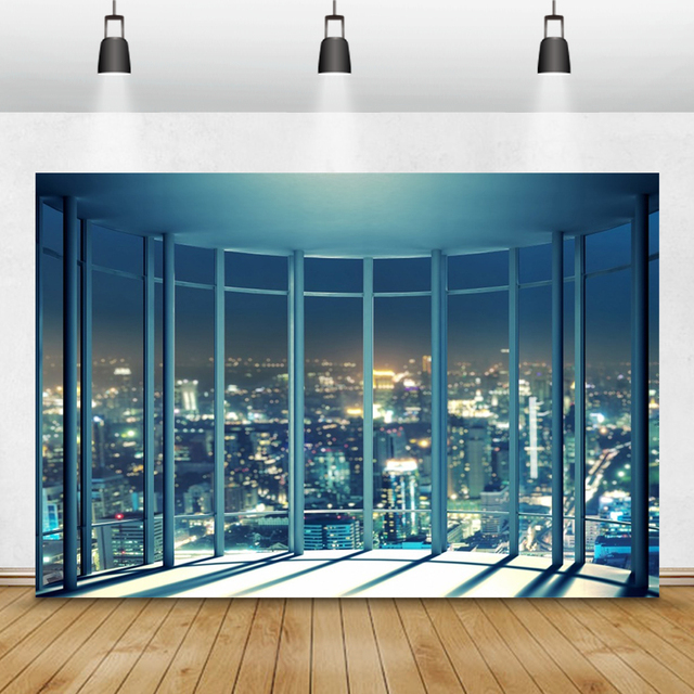 Laeacco Modern City Night Buildings French Window Photography Backdrops Photo Backgrounds Interior Decor Photocall Photo Studio