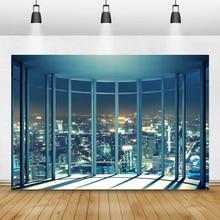 Laeacco fondos de fotografía de ventana francesa, edificios de ciudad de noche modernos, fondos de fotografía, decoración Interior, estudio fotográfico, Photocall