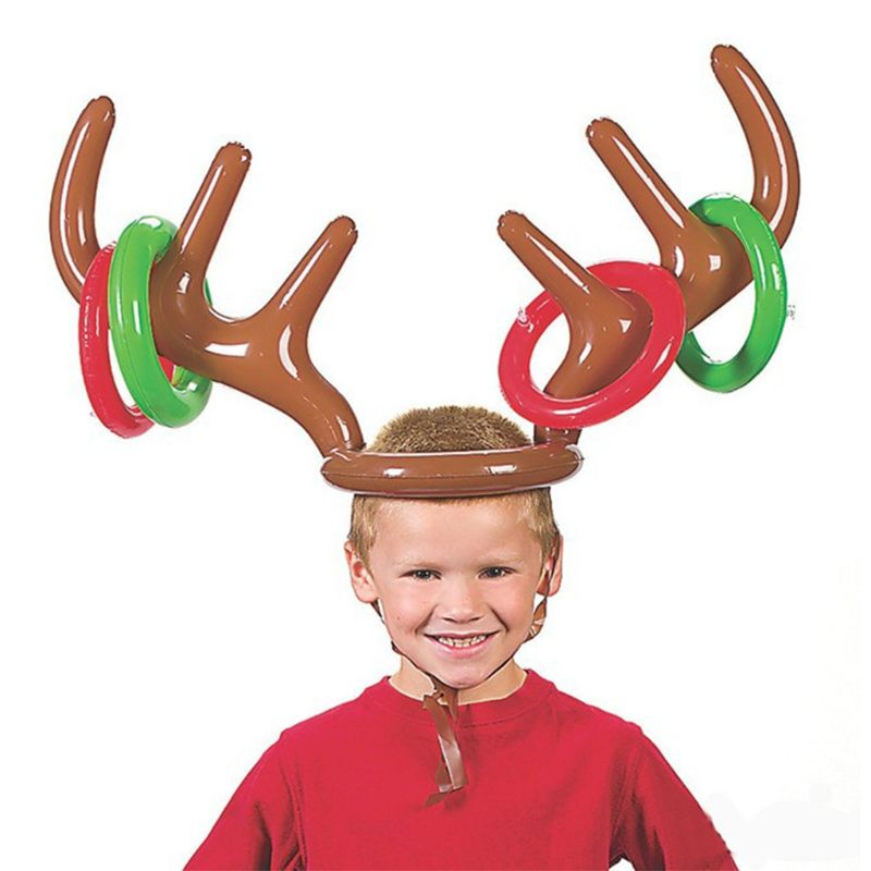1 Pc Inflatable Reindeer Antler Ring Christmas Hat Toss Game Props Xmas Holiday Party Fun Supplies Toys