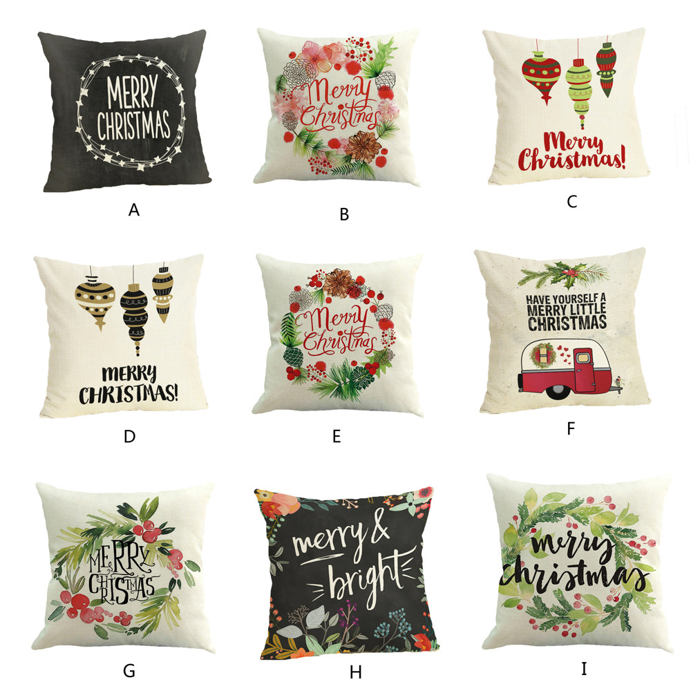 2019 Happy Christmas Pillow Cases Linen Cover Home Pillow Case