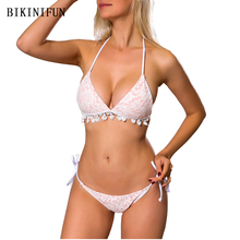 купить New Sexy Lace Bikini Women Swimsuit Flesh Pink Bathing Suit Strappy Bandage Swimwear S-L Girl Backless Halter Padded Bikini Set по цене 713.84 рублей
