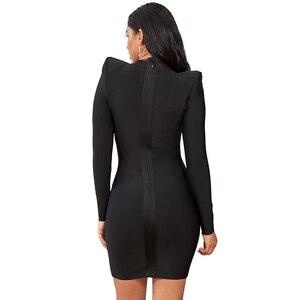 Image 4 - Deer Lady Sexy Black Bandage Dress 2019 New Arrival Long Sleeve Party Bandage Dress Mesh Patchwork Women Celebrity Bodycon Dress