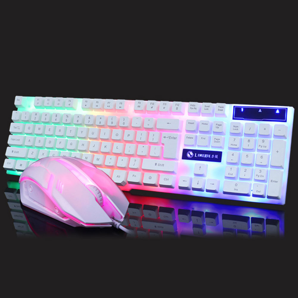 Einglish USB Wired 104 Key Keyboard Mouse Combo Set LED Backlight For Notebook Laptop Mac Desktop <font><b>Gaming</b></font> PC Office Supplies Mice