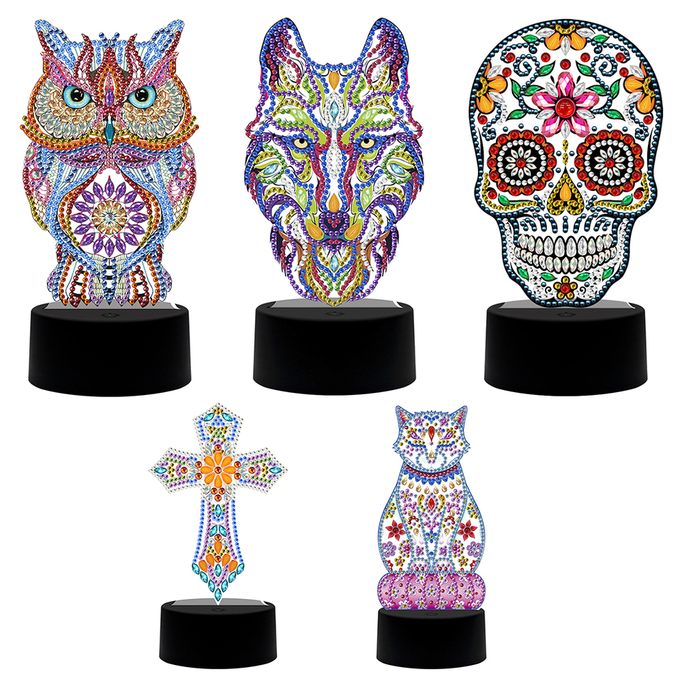 DIY Paint by Numbers for Adults Kids Diamond Painting Night Lights DIY Special Shaped Diamond Painting Skull Night Lamp