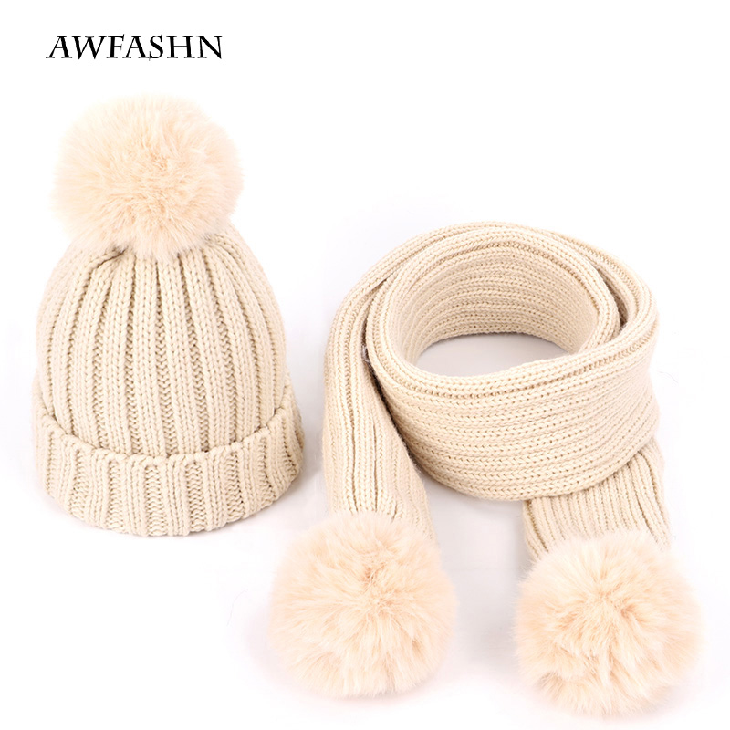 Cute Children's Suit Winter Pompon Hat Scarf Boy Girl Knit Hat Solid Color Pea Fluffy Hats Carf Mask Baby Warm Cotton  Pullover