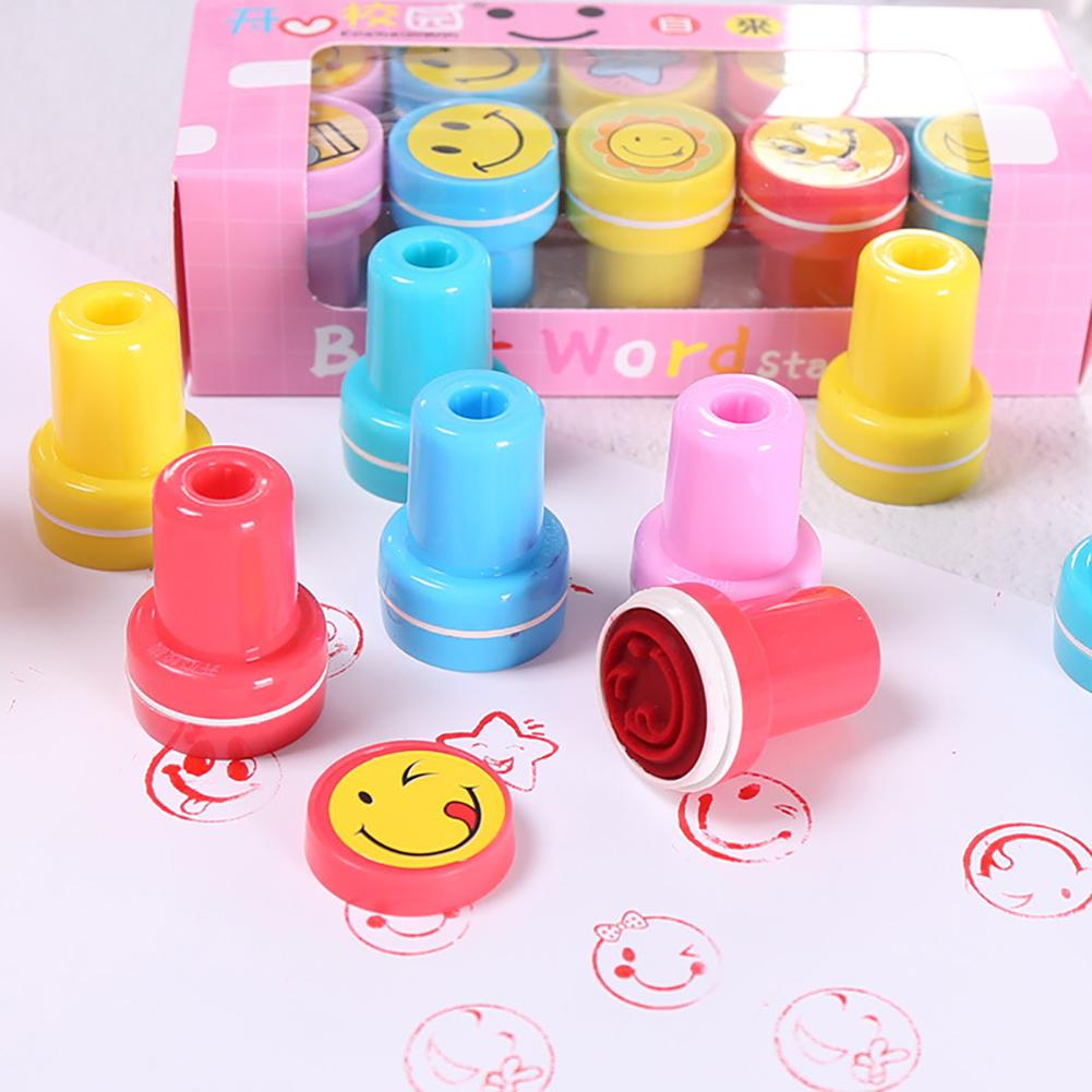 RCtown 10PCS Kids Cartoon Smile Face Expression Plastic Stamp