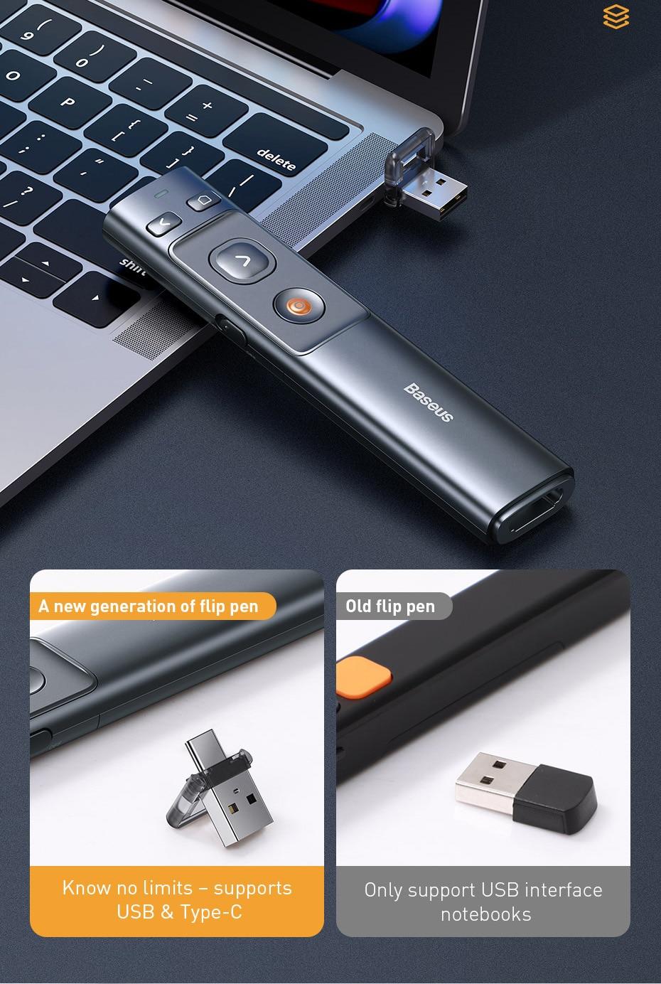 Baseus Orange Dot Wireless Presenter 8