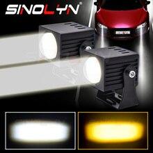 Sinolyn LED High Beam Projectors Lens For Headlight Dual Colors Fog Light Matrix 5000K/3000K Waterproof Retrofit Car Accessories
