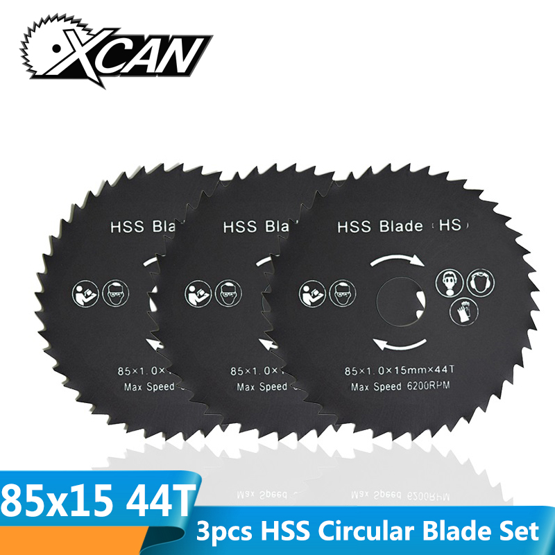 XCAN 3pcs 85x15mm 44T High Speed Steel Circular Saw Blade Nitrided HSS Mini Wood Metal Cutting Disc