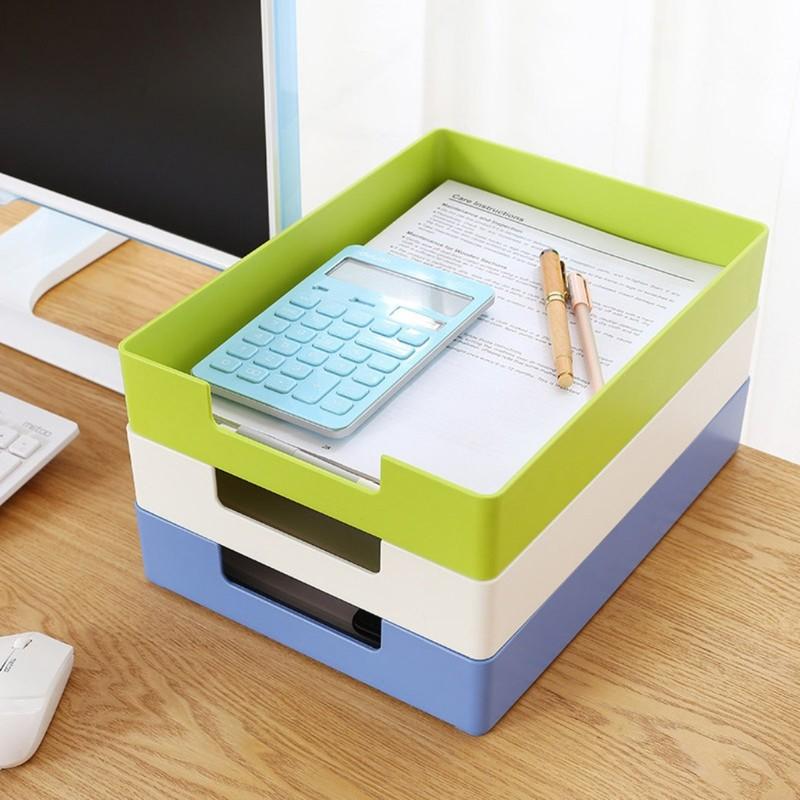 Blue Green White Desk File Document Paper Trays Magzine Holder Plastic Book Holder Organizer For Desktop Storage Office Suppiles