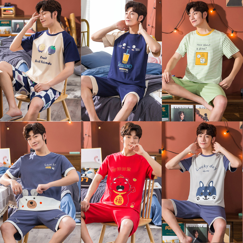 Pajamas Men's Summer Cotton Thin Short Sleeve Shorts Casual Spring And Autumn Cotton-Outer Wear Men Youth Homewear Set