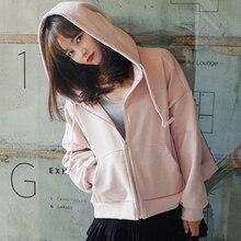 Hoodies Women Sweatshirts 2019 Autumn Solid Color Hooded Sweatshirt Female Zipper Pocket
