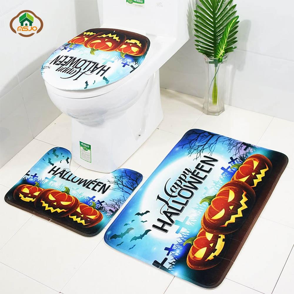 MSJO Halloween Bathroom Mat Set 3D 3Pcs Bloody Cat Pumpkin Scarecrow Bath Mat Rug Toilet Lid Covers Bathroom Accessories Set in Bath Mats from Home Garden