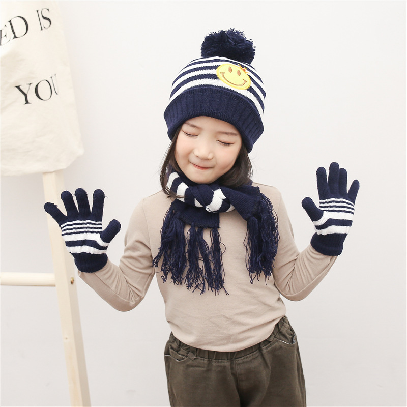 Ins Stripe Children Knitting Hat Winter Hat And Gloves Set For Boys Three Piece Set Thickened Warm Kids Hat & Scarf Cartoon