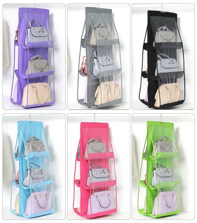 H9e819ac72e274021b0e1c0393dc0d36dh - 6 Pocket Foldable Hanging Bag 3 Layers Folding Shelf Bag Purse Handbag Organizer Door Sundry Pocket Hanger Storage Closet Hanger
