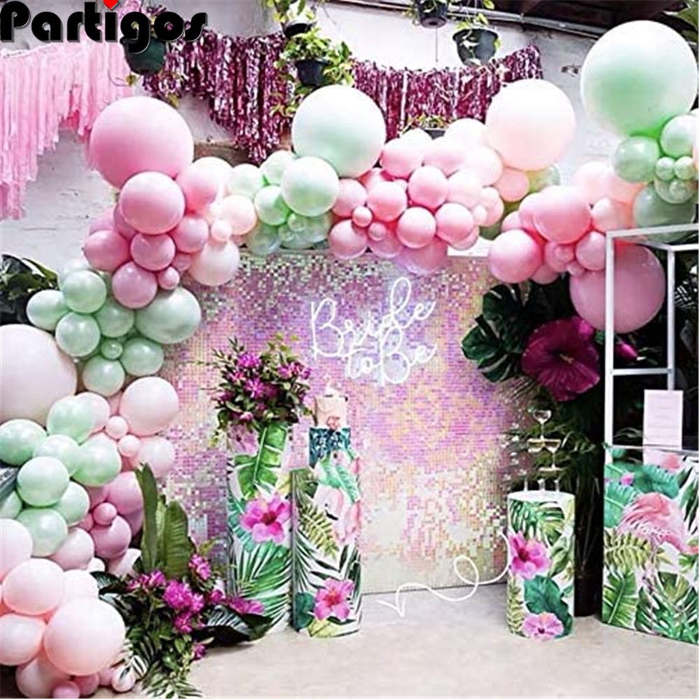 103pcs Hawaii Pastel Green Pink Balloons Garland Arch Kit with Balloon Strip for Hawaii Balloon Tropical <font><b>Birthday</b></font> Party <font><b>Decor</b></font> image