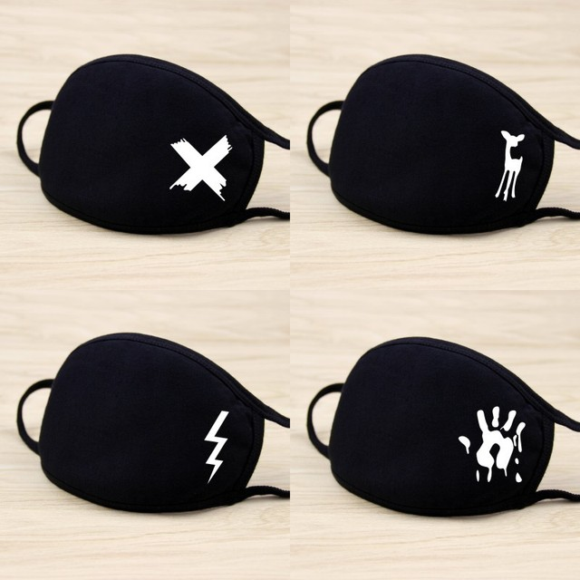 Top Quality Black Cute Cartoon Animal Mask Printed Dustproof Cycling Muffle Unisex Winter Thicken Cotton Half Face Mouth Mask