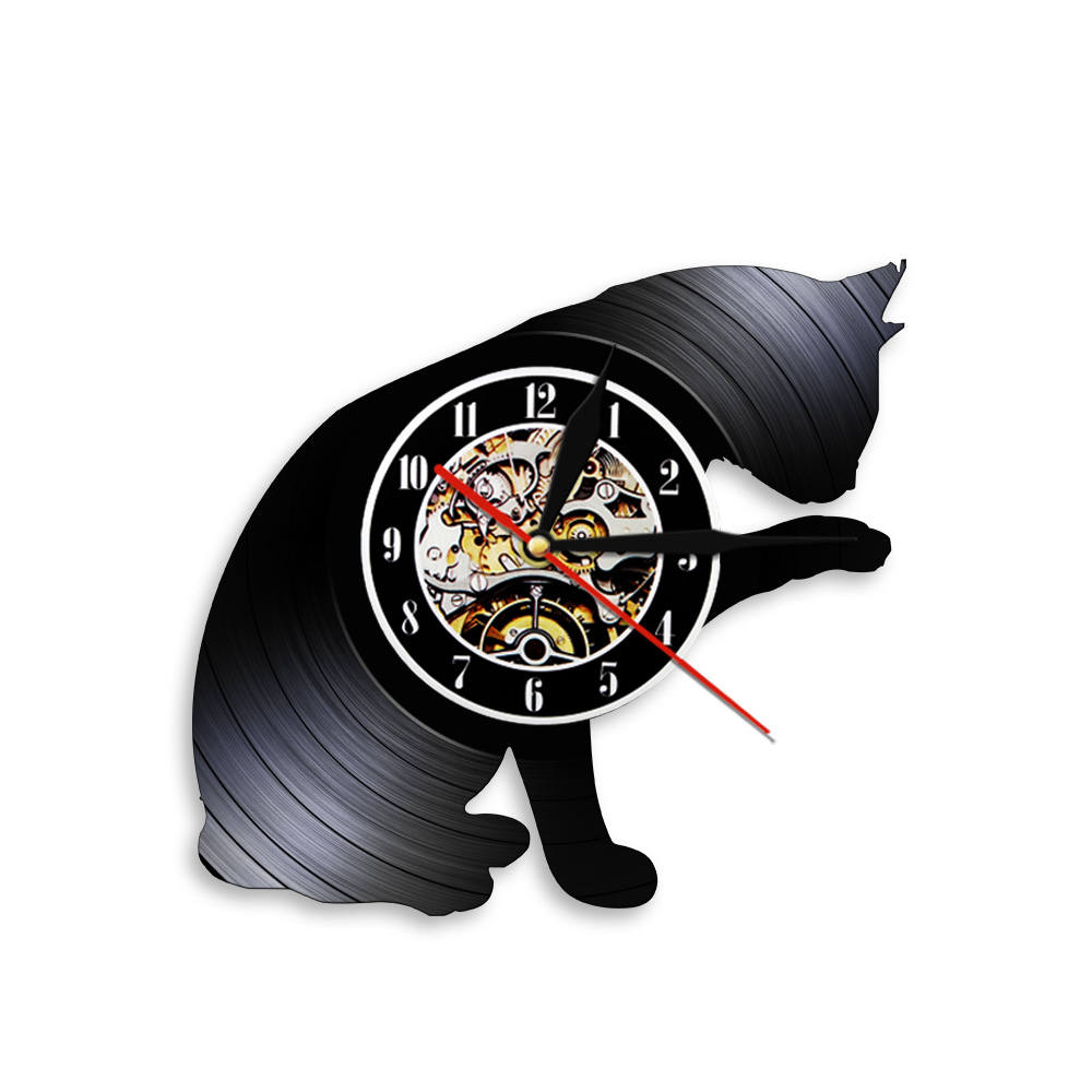 Cats Handmade Vinyl Record Wall Clock Vintage Home Decor Creative Wall Hanging Art Retro Clock Creative Timepiece Pet Lover Gift