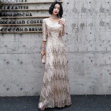 Evening-Dresses Champagne Robe-De-Soiree Sparkle Sequined Gold Long 3/4-Sleeves V-Neck